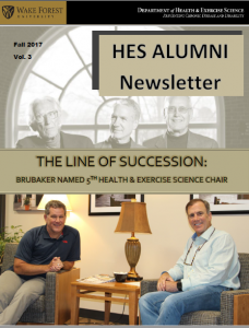 """Cover of 2017 HES Alumni Newsletter. """"The Line of Succession."""" Photos of current Dept. Chair Peter Brubaker and 4 past Chairs."""