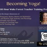 Slide with images and info about Yoga Teacher Training program (click post link for more information)