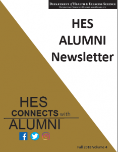 Cover of 2018 HES Alumni Newsletter with headline: HES Connects Alumni, icons for Facebook, Twitter and Instagram